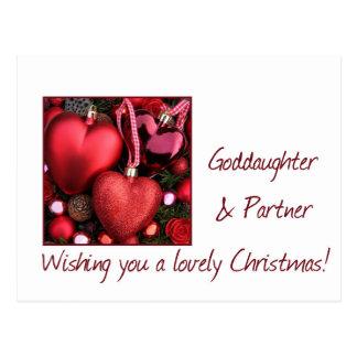Goddaughter & partner Merry Christmas card Post Card