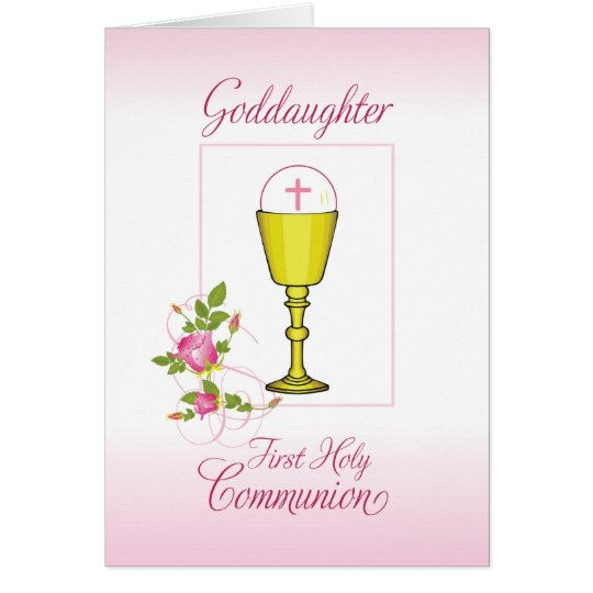 Goddaughter Pink First Holy Communion, Chalice Card
