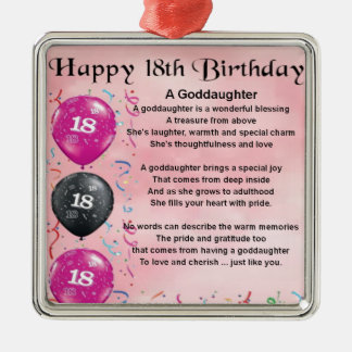 Goddaughter Poem - 18th Birthday Metal Ornament