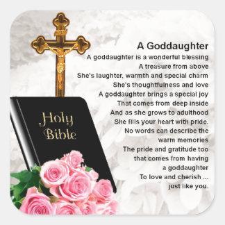 Goddaughter Poem - Bible & Flowers Design Square Sticker