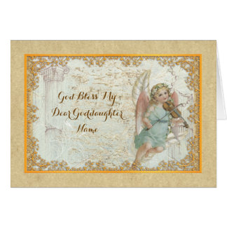 Goddaughter Vintage Art Angel Personalized Card