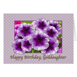 Goddaughter's Birthday Card with Purple Petunias