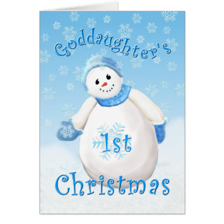 Goddaughter's First Christmas Snowman Greeting Car Greeting Card