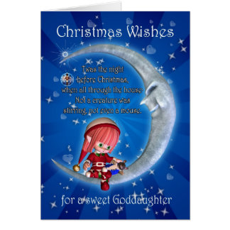 godddaughter, night before Christmas with elf an Greeting Card