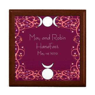 Goddess and God Wiccan Handfasting Golden Oak Box