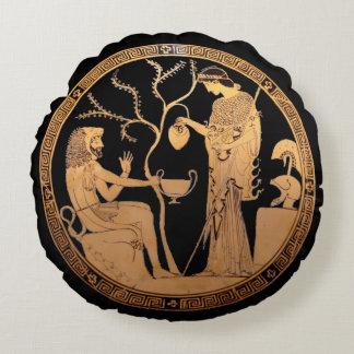 Goddess Athena and Heracles Round Cushion