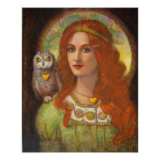 Goddess Athena, woman & Owl fantasy art Poster