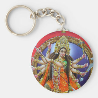 Goddess Durga Basic Round Button Key Ring