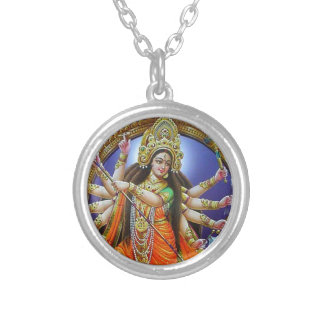 Goddess Durga Silver Plated Necklace
