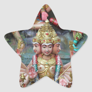 Goddess Durga with Three heads Hindu temple Star Sticker