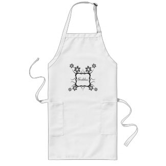 Goddess Floral Apron, Dark Gray Long Apron