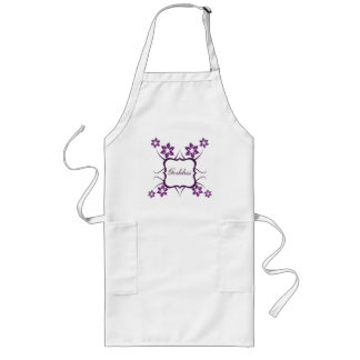 Goddess Floral Apron, Dark Purple Long Apron
