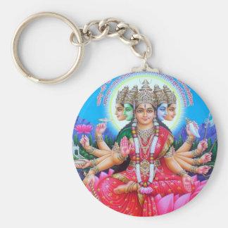 Goddess Gayatri Devi Basic Round Button Key Ring