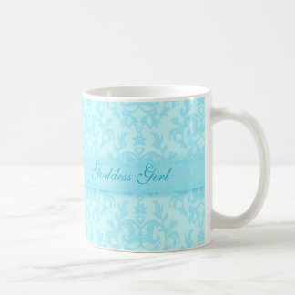 """Goddess girl"" damask pale blue mug"
