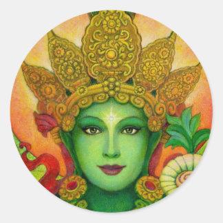 Goddess Green Tara's Face Round Sticker