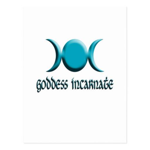 goddess incarnate blue post card