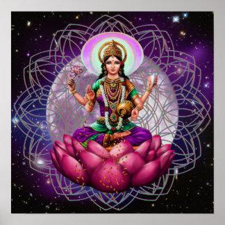 Goddess Lakshmi - cosmic blessing mandala Poster