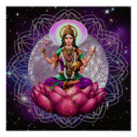 Goddess Lakshmi - cosmic blessing mandala Posters