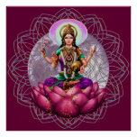 Goddess Lakshmi - wealth blessing mandala Posters
