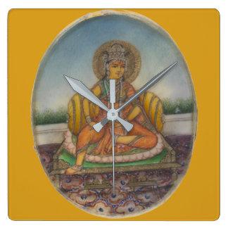 Goddess Samanya Lakshmi Vintage Gouache Painting Square Wall Clock