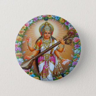 Goddess Saraswati 6 Cm Round Badge