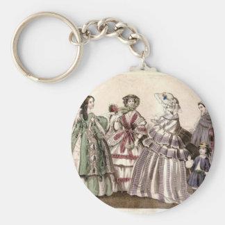 Godey's Ladies Book Victorian Fashion Plate Weddin Basic Round Button Key Ring