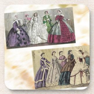Godey's Ladies Book Victorian Fashion Plate Weddin Drink Coaster