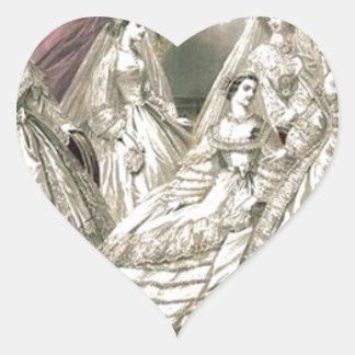 Godey's Ladies Book Victorian Fashion Plate Weddin Heart Sticker
