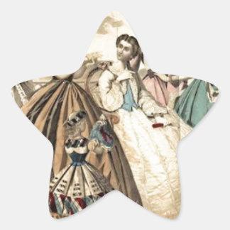 Godey's Ladies Book Victorian Fashion Plate Weddin Star Sticker