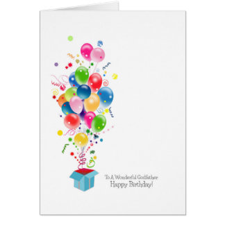 Godfather Birthday Cards, Colorful Balloons Card