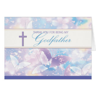 Godfather Thank You Pastel Butterflies Greeting Card