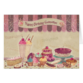 Godmother - Birthday Card - Cakes And sweets