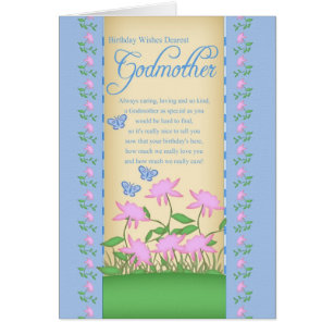 Godmother birthday cards invitations zazzle godmother birthday card flowers and butterflies bookmarktalkfo Gallery