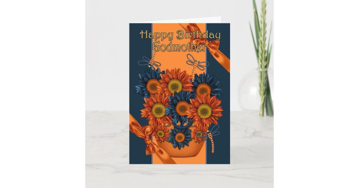 Godmother Birthday Card Sunflower And Dragonfly Zazzle