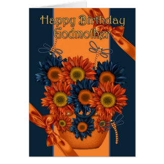 Godmother Birthday Card - Sunflower And Dragonfly