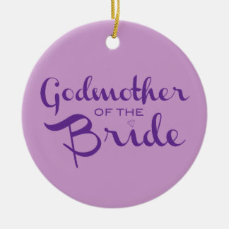 Godmother of Bride Purple on Purple Ceramic Ornament