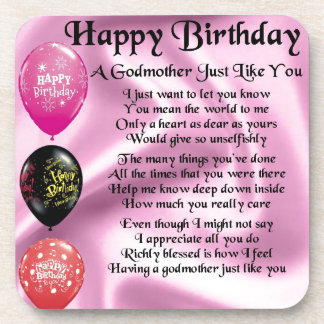Godmother poem - Happy Birthday Design Beverage Coaster