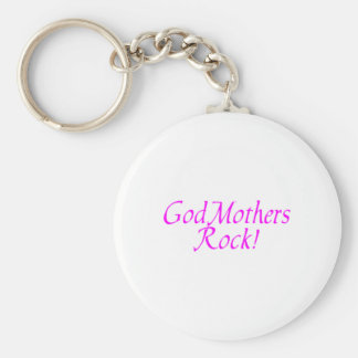 GodMothers Rock Pink Basic Round Button Key Ring