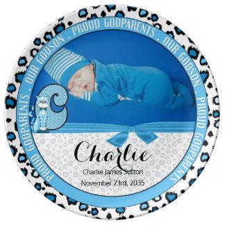 """Godparents Letter """"C"""" Blue Baby Photo Porcelain Plates"""