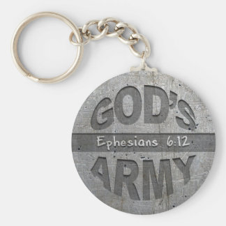 God's Army - Ephesians 6:12 Bible Verse Metal Gray Basic Round Button Key Ring