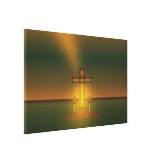God's Aura Light over the Cross of Christ Canvas Prints
