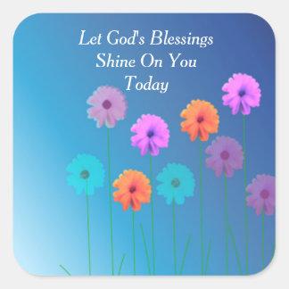 God's Blessings Square Sticker