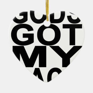 Gods Got My Back.png Double-Sided Heart Ceramic Christmas Ornament