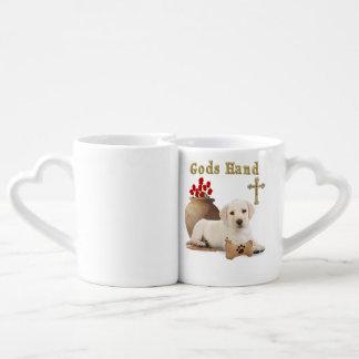 Gods hand puppy coffee mug set
