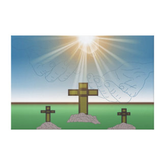 God's Hand's over the Cross of Christ Stretched Canvas Prints