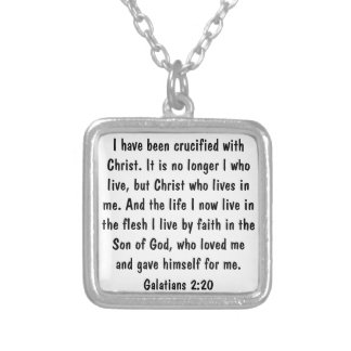 God's love bible verse Galatians 2:20 Silver Plated Necklace