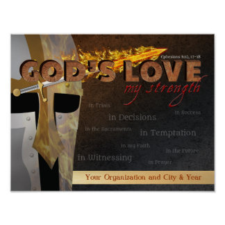 Gods Love My Strength Armor of God Poster