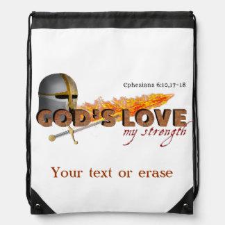 Gods Love My Strength Armor of God Poster Cinch Bag
