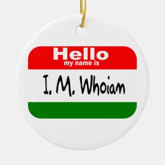 God's Name Tag (Christmas Colors) Christmas Tree Ornaments