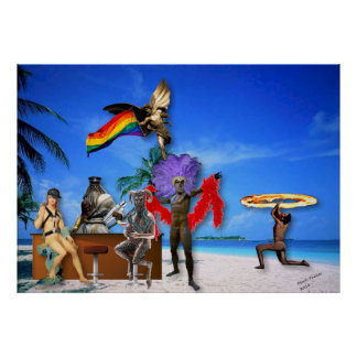 Gods on the Beach LGBT Pride Art Piece Poster